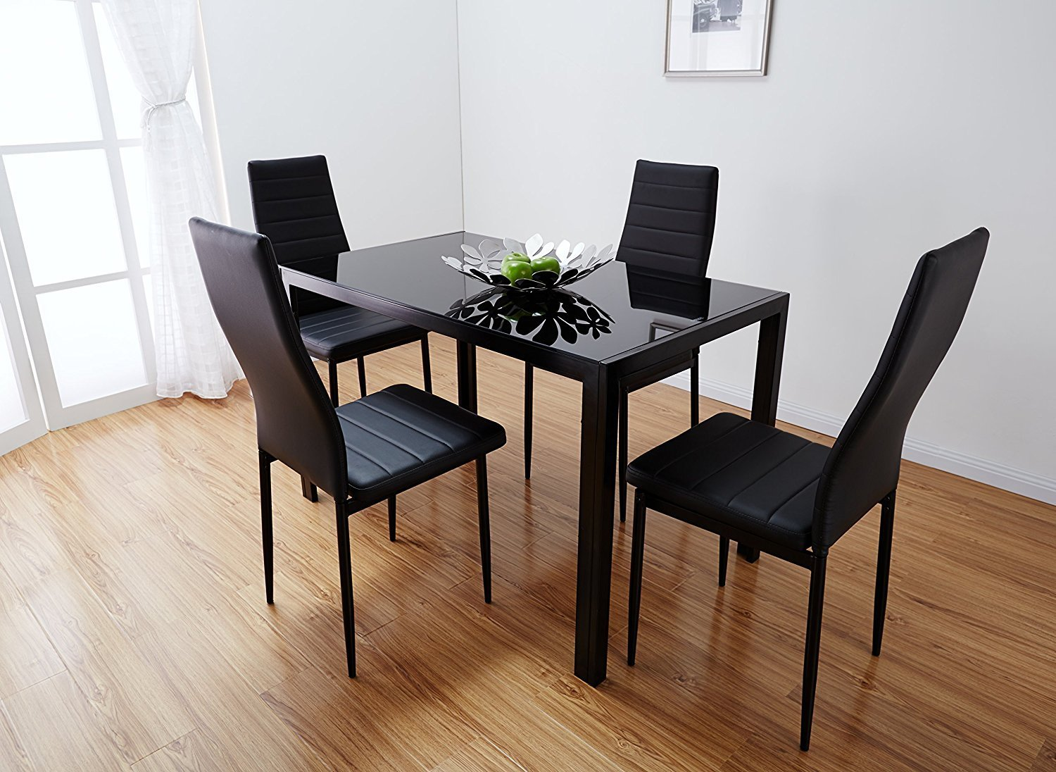 Glass Dining Table And Chairs Buy Bonnlo Modern 5 Pieces Dining Table Set Glass Top Dining Table