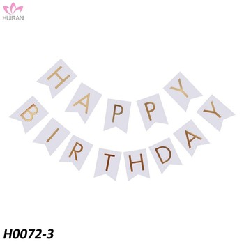 White Happy Birthday Bunting Banner With Shimmering Gold Letters