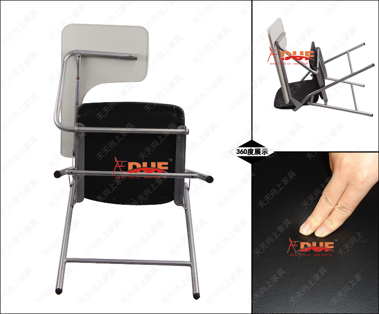 Pu Padded Folding Chairs With Tablet School Seat Cushion