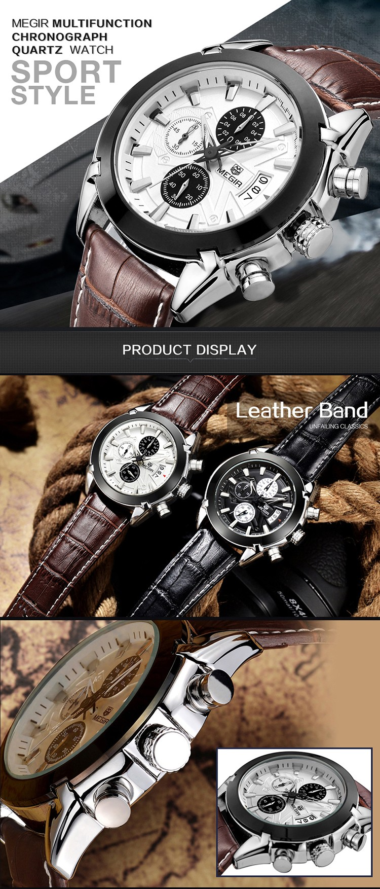 Top 10 Watch Brands Men S Military Watches Chronograph Date Quartz Clock Waterproof Leather Men Business Luxury Megir 2020 Watch Buy Megir Watch Luxury Watch Men Business Watch Product On Alibaba Com