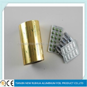 printed and coated aluminum foil paper roll for medicine pharmaceutical blister packing use