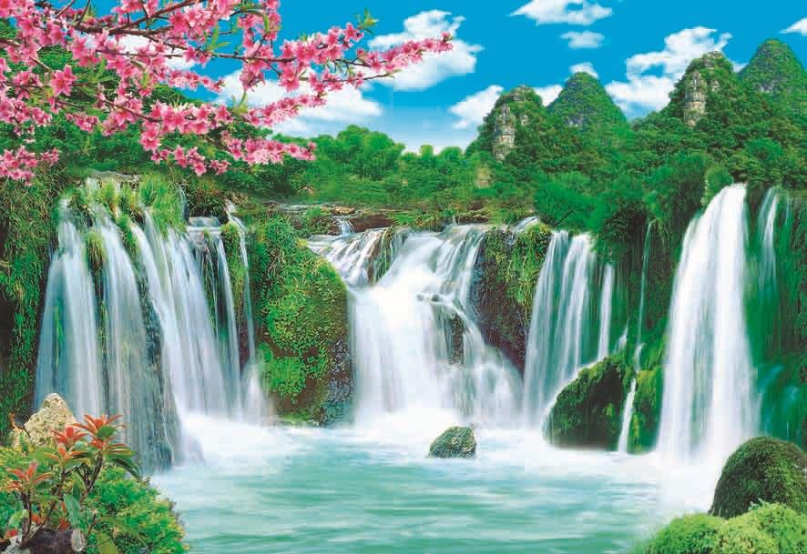 Free Computer Fall Wallpaper Beautiful Natural Flower Waterfall Landscape Art Painting