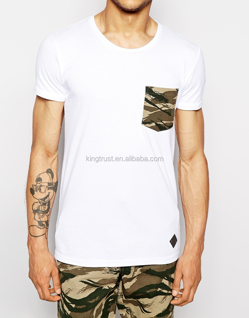 Latest design t shirts 1 euro fashion camo t shirt with pocket wholesale cheap