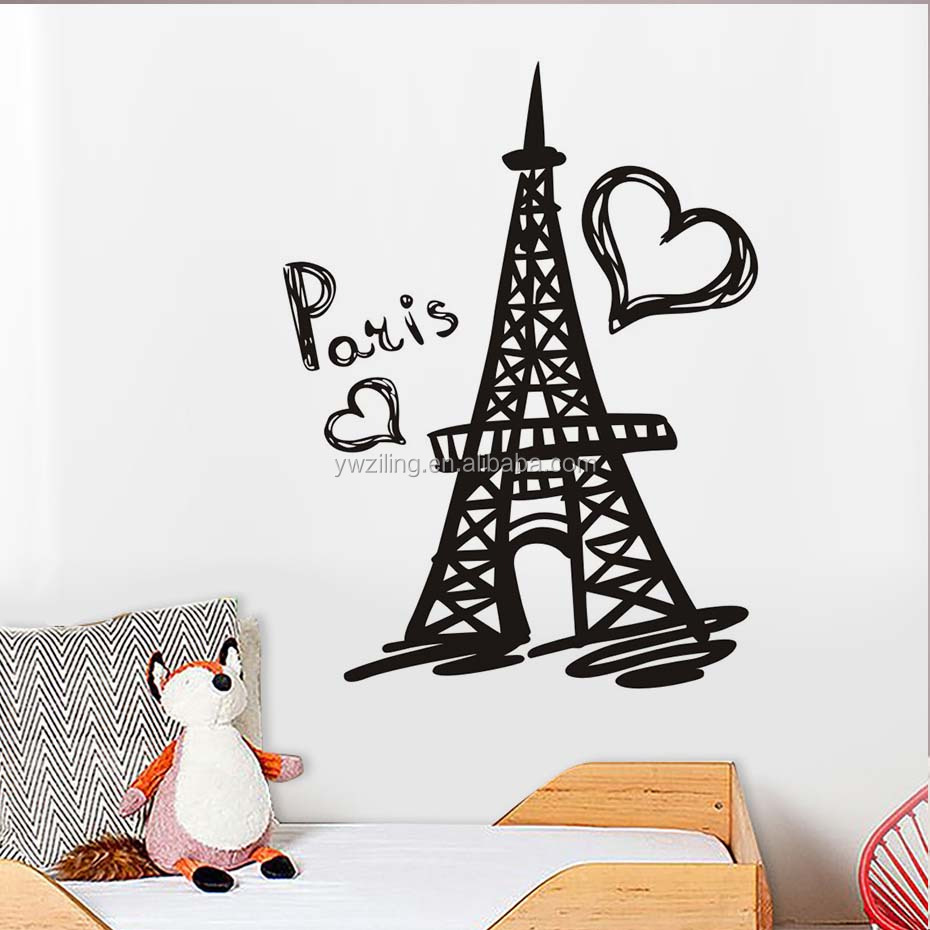 Wallpaper Kamar Paris Ya846 Paris Eiffel Tower Wall Decal Vinyl Sticker Paris Symbol Home France Art Murals Bedroom Wall Decoration For Children Buy Wall Sticker Wall