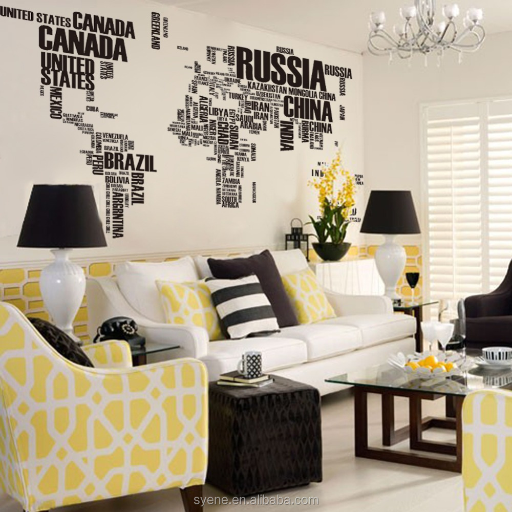 World Map Decorations Syene World Map Wall Sticker 116 190cm Xl Map Country Name Art Vinyl Quote Letter Wall Decals 3d Removable Pvc Home Decor Buy World Map Wall
