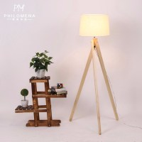 European Style Wooden Floor Lamp Original Wood Color ...