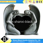 Absoute Black Granite double Angel Tombstone monuments memorials Classic Angel Carving headstone for sale