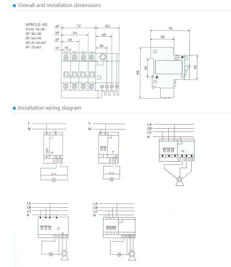 Main Circuit Breaker Mcb Shunt Trip Circuit Breaker(spm1-1le-63c32