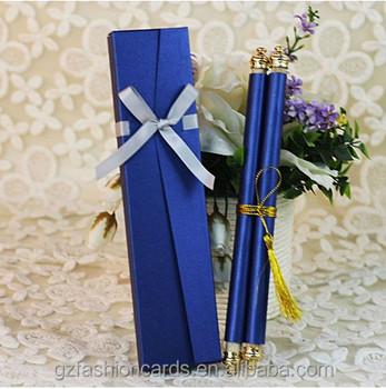 Customize Royal Bule Chinese Scroll Wedding Invitation Card - Buy