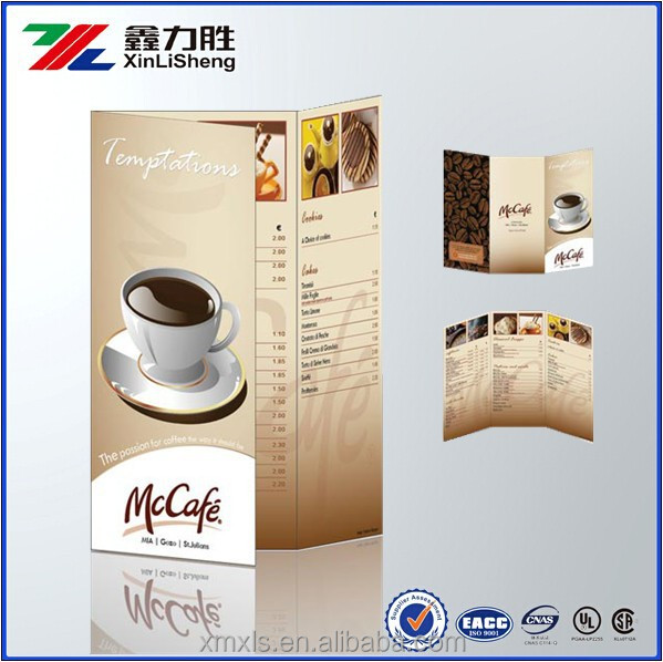Elegant Restaurant Menu/leaflets Designs With Cmyk Printing / Custom