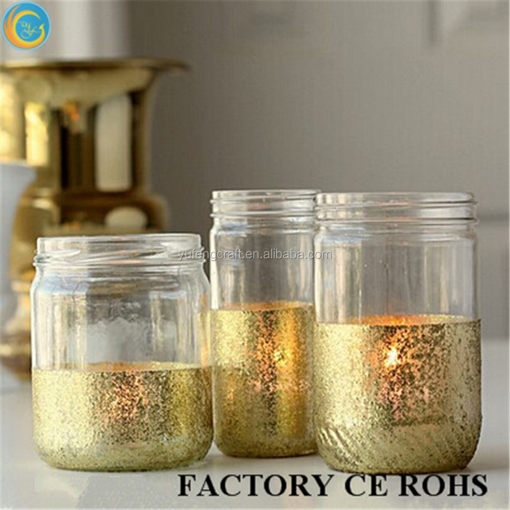 Glass Jar Lamp Shade Exported To United States Bling Gold Glass Jars For Candle Lamp