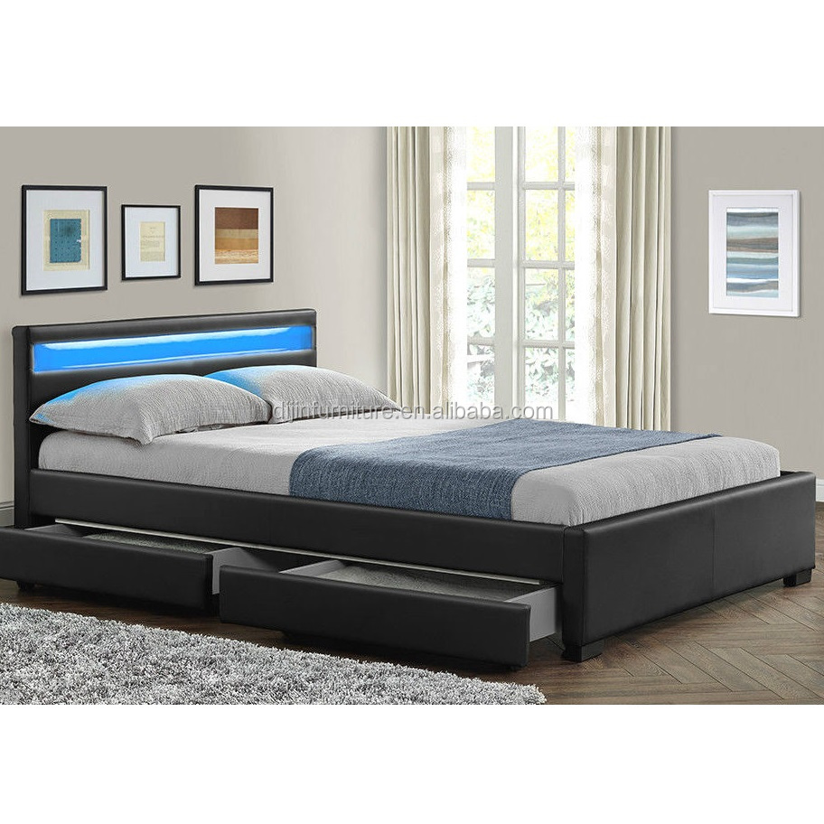 Double Size Bed Double King Size Bed Frame With 4 Drawers Storage Led Headboard Buy King Size Bed Frames King Size Slat Bed Frame King Size Leather Bed Frame