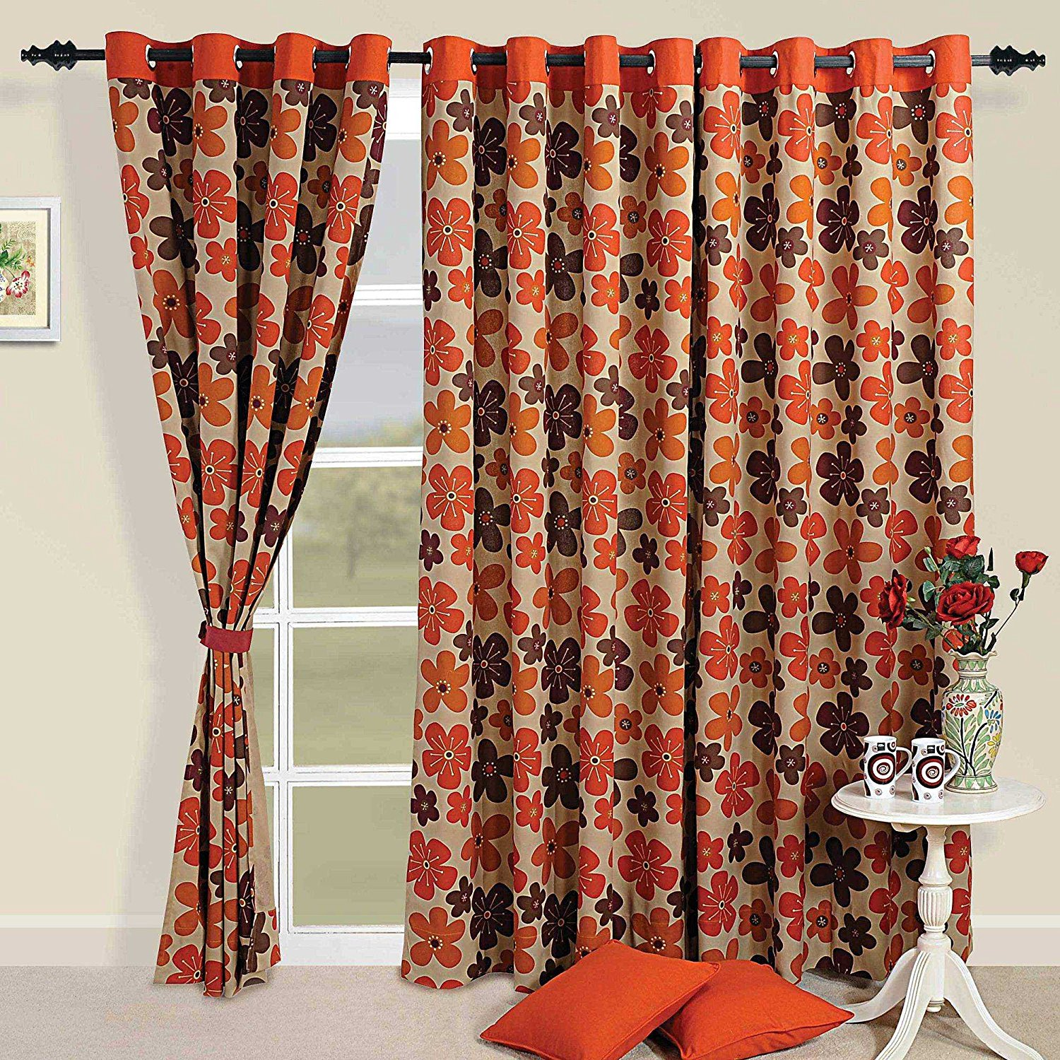 Orange Curtain Panels Cheap Brown And Orange Curtains Find Brown And Orange Curtains