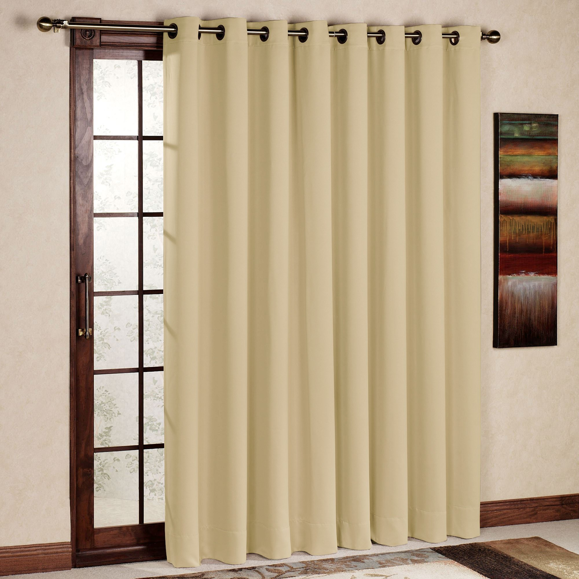 Sliding Door Curtain Rhf Wide Thermal Blackout Patio Door Curtain Panel Sliding Door Insulated Curtains Thermal Curtains Extra Wide Curtains 100w By 84l Inches Beige