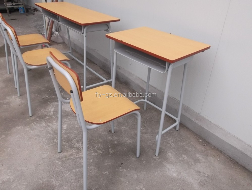 Cheap Wooden Single Student Desk And Chairs For School