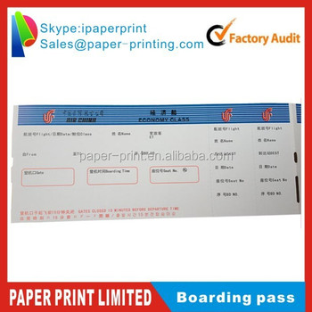 Airline Boarding Pass Airline Ticket Paper - Buy Boarboarding Card