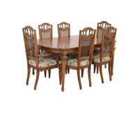 Malaysian Teak Wood Carved Frame Glass Top Dining Table ...