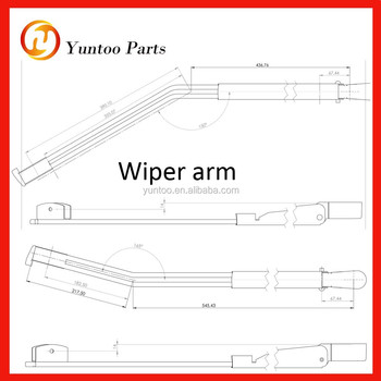 Wiper arm 760mm drwaing, View rear wiper arm, yuntoo Product Details