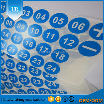 Custom Round Number Labels Print Vinyl Pvc Adhesive Sticker Printing