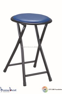 Soft Padded Folding Stool Round Chair Metal Frame - Buy ...