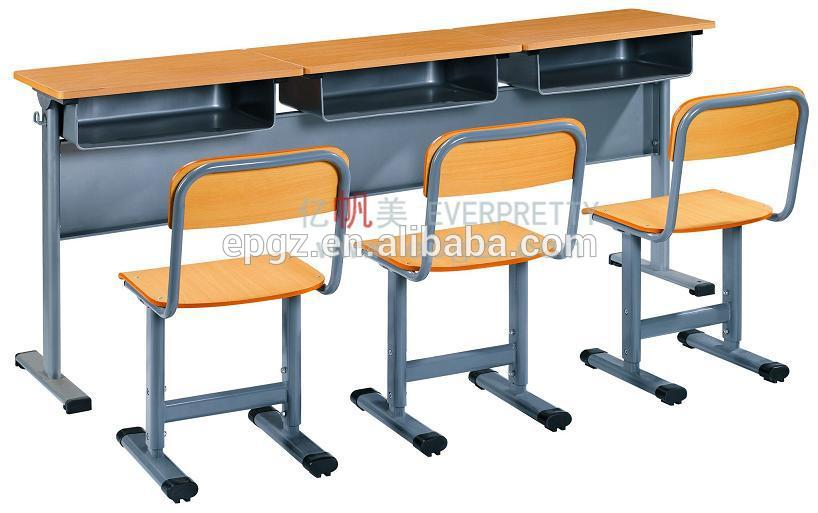 Triple College Desk And Bench Thress Student Desk Chair