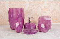 Clear Poly Resin Bath Accessory Bathroom Set,Purple ...