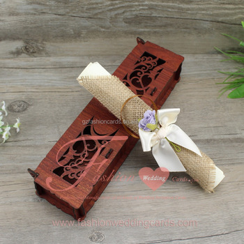 Hot Sale Wooden Box Scroll Wedding Cards With Ribbon And Flower