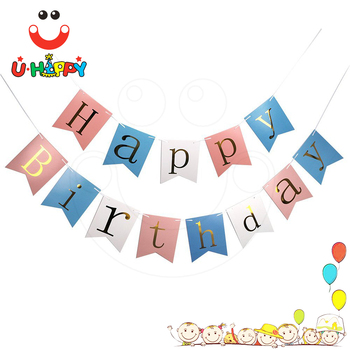 Wholesale Happy Birthday Letter Banner Design With Gold Stamping