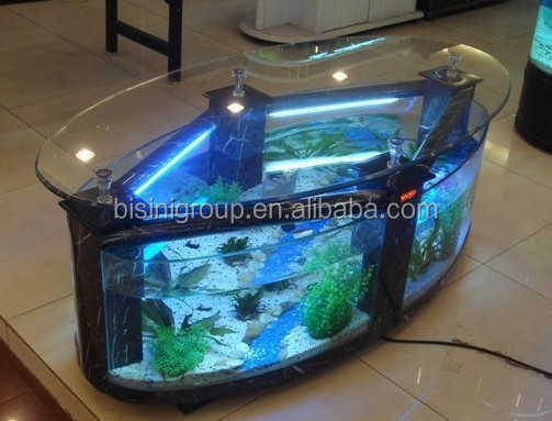 Design Couchtisch Glas Modern Style Acrylic Rectagle Coffee Table Aquarium/ Fish