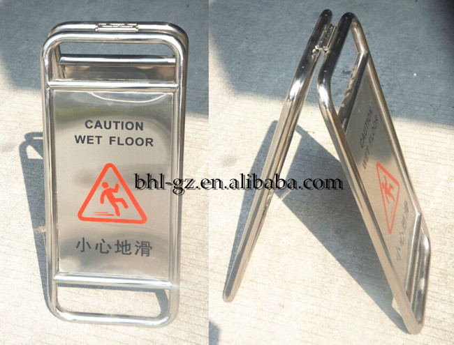 Foldable Stainless Steel Caution Wet Floor Sign Stand A