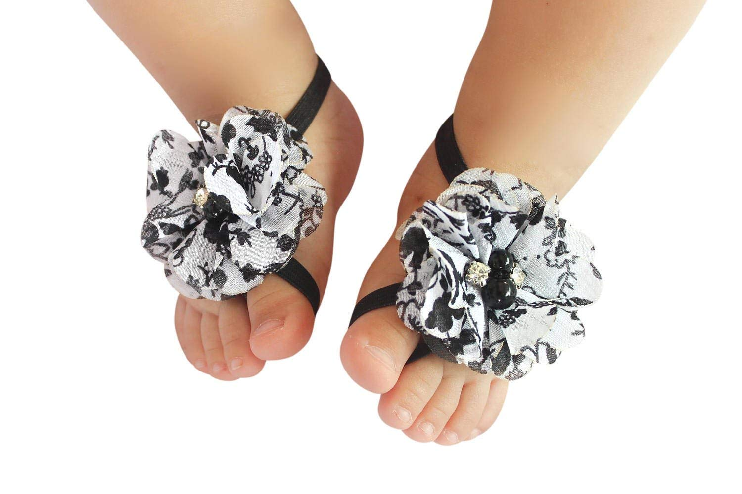 Newborn Elastic Shoes Buy Handmade Black And White Flower Baby Barefoot Sandals By