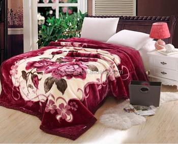 Raschel Mink Blanket Polyester Customize Design Thick