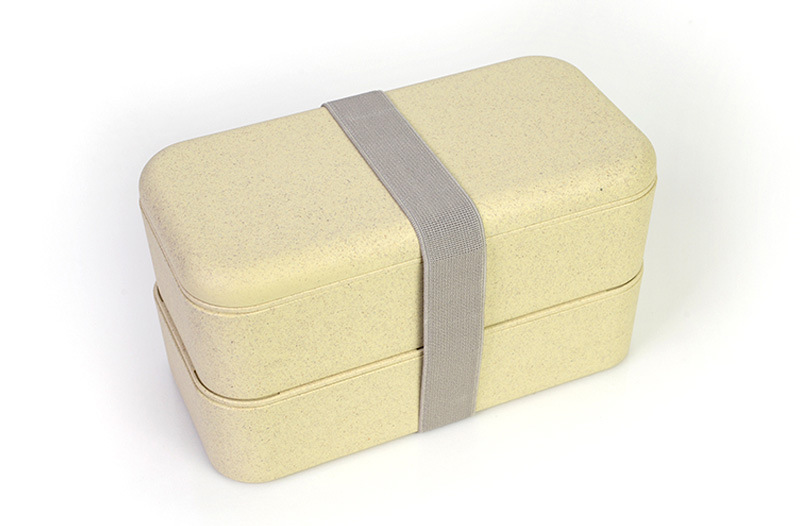 Double Layers Bento Lunch Box With Biodegradable Wheat