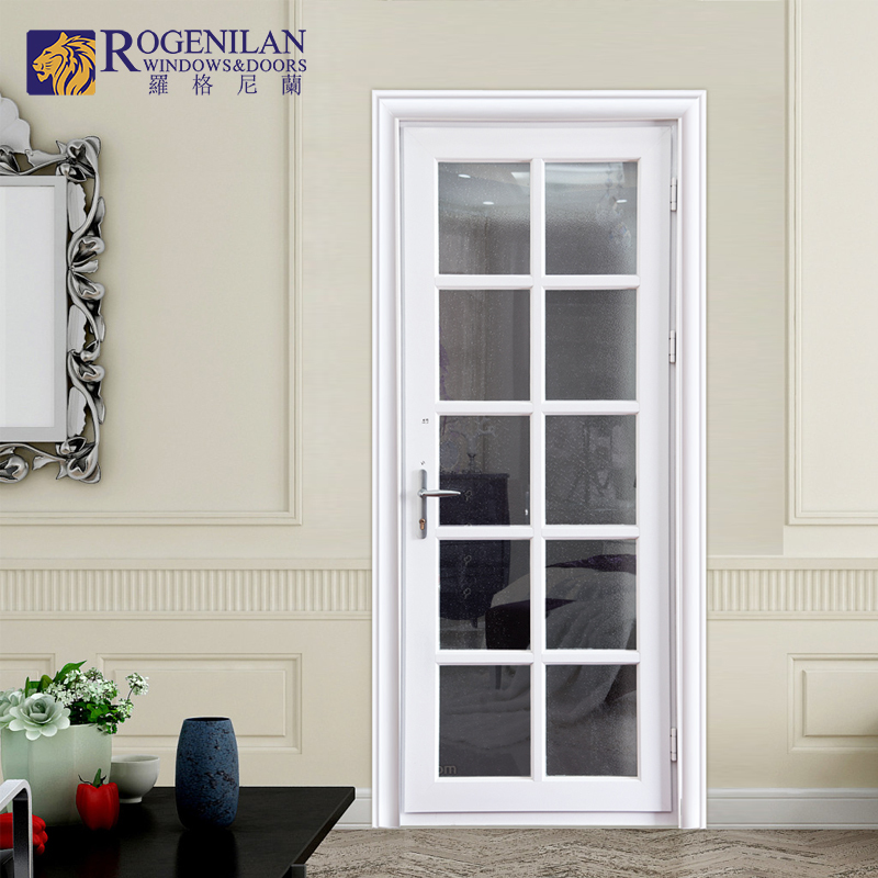 Rogenilan Powder Coated White Aluminum Door Design Frosted