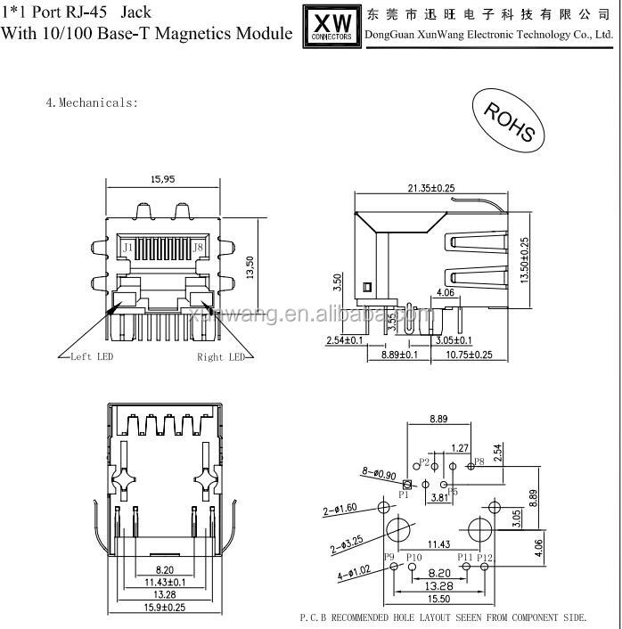 Rj 45 Rj45 Female Laser Logo 10p10c Rj 45 Connector 10/100m - Buy Rj