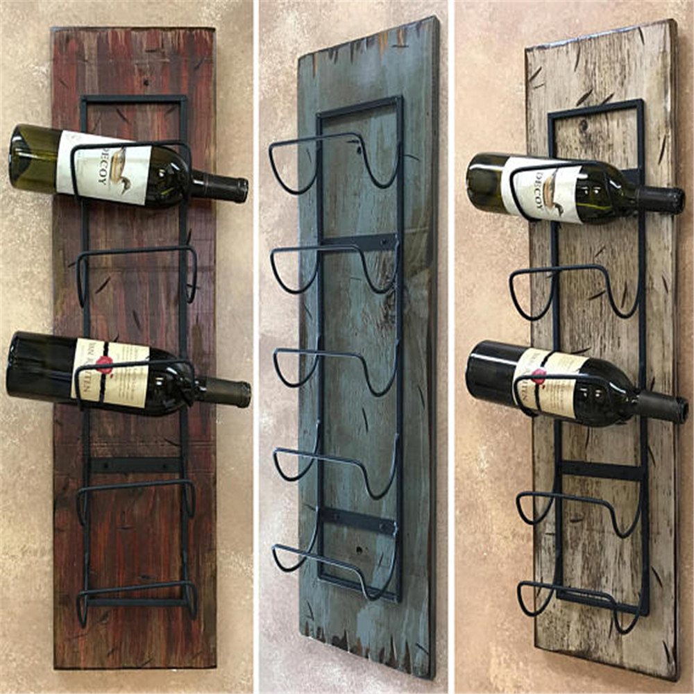 Decorative Metal Wine Racks Wine Rack Wall Wood 5 Bottle Holder With Metal For Home Decor Buy Wall Mounted Wine Rack Bottle Holders Antique Decorative Metal Wine Bottle