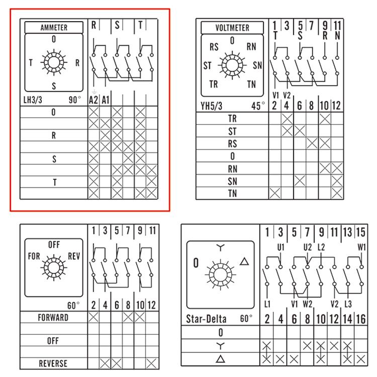3 position 6 lead switch bedradings schema