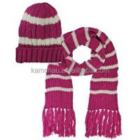 Winter Warm Private Label Thick Knitted Women Purple Hat ...