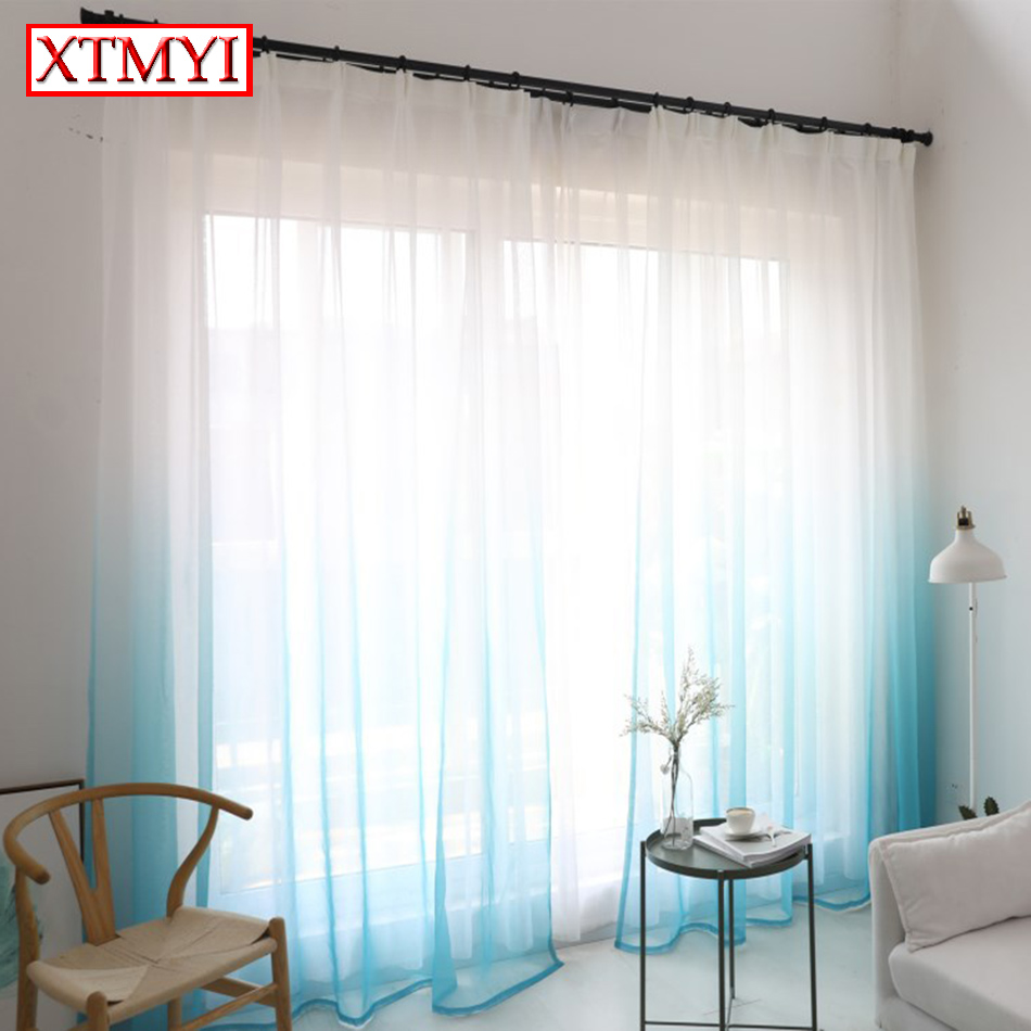 Curtains For A Blue Room Us 4 48 45 Off Modern Tulle Curtains For Living Room Brownblue Bedroom Voile Window Curtains Drapes Custom Made In Curtains From Home Garden On