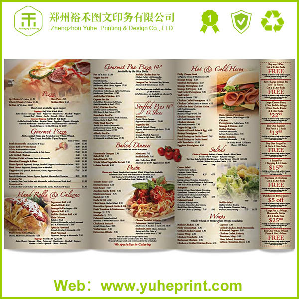 Low Price Customized Restaurant Hotel Advertising Flyers Printing - sample menu card