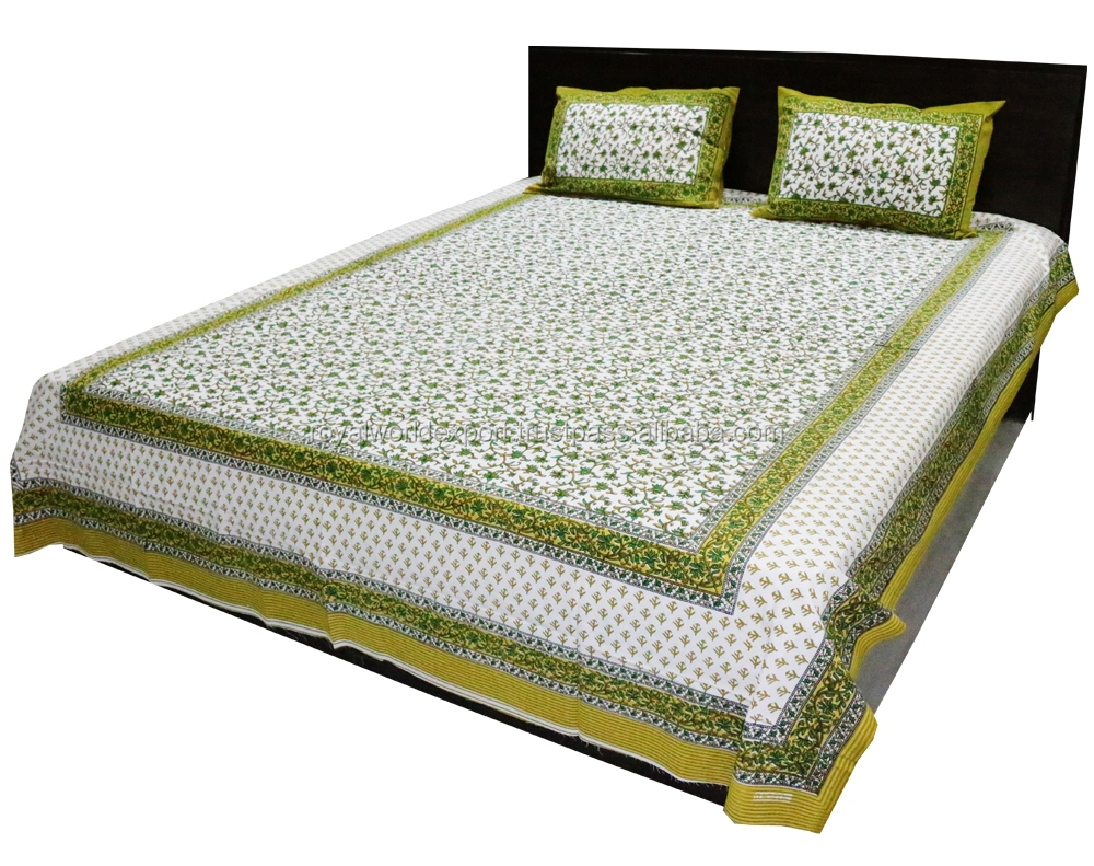 Double Bed 100 100 Cotton Indian Rajasthani Jaipuri Double Bed Sheet With Handblock Design Handmade Print Direct Factory View Hemp Bed Sheets Royal Product