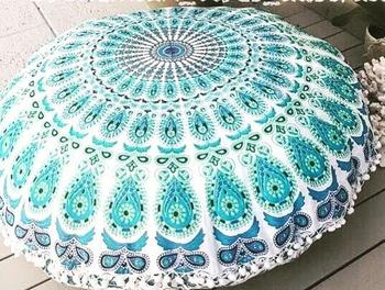 Handmade 100 Cotton Fabric Cushion With Pompom Lace