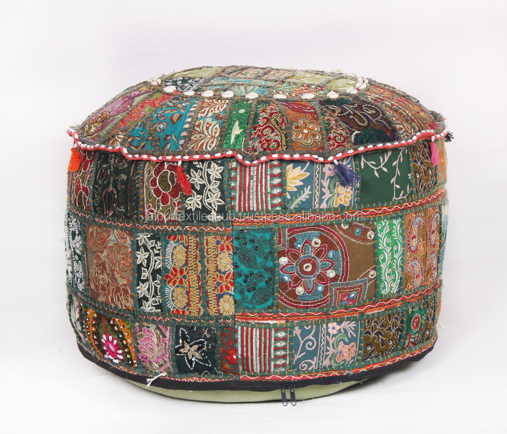Pouf Vintage Bohemian Green Patchwork Indian Pouf Vintage Seat Pouffe Pouf Ottoman Buy Indian Ottoman Puff Ottoman Vintage Ottoman Product On Alibaba