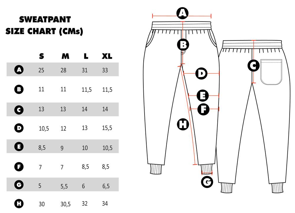 jogger pants sizing chart - Morenimpulsar