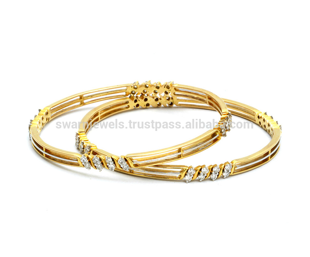 18k Maria Bis Hallmark Gold Diamond Bangles