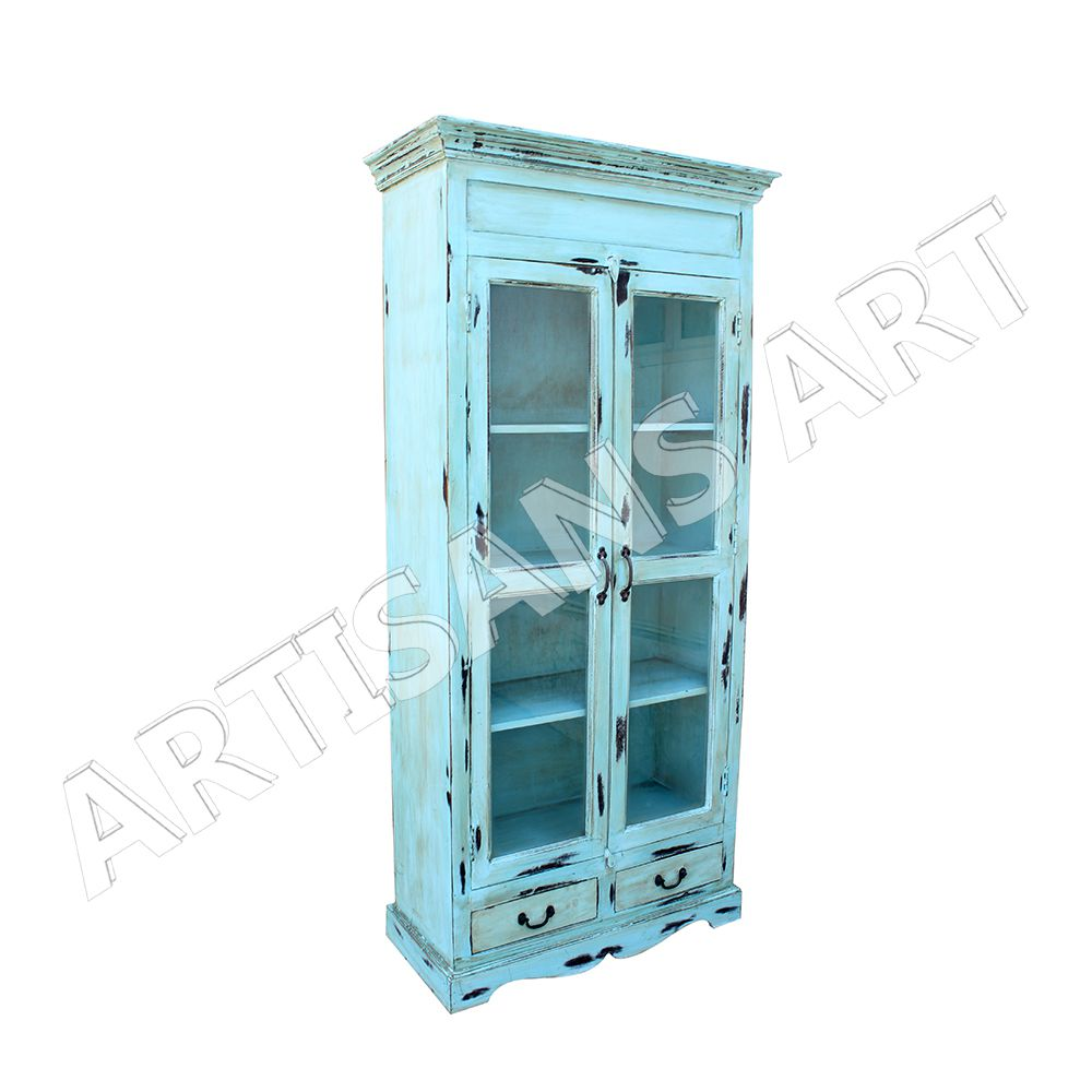 Glasvitrine Discount Vintage Living Room 2 Door Glass Display Cabinet Antique Sky Color