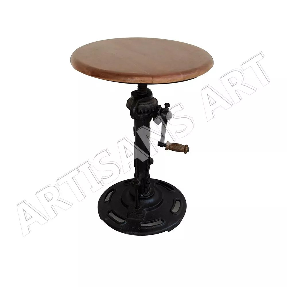 Industrietisch Industrial Cast Iron With Natural Wood Top Crank Wind Up Table