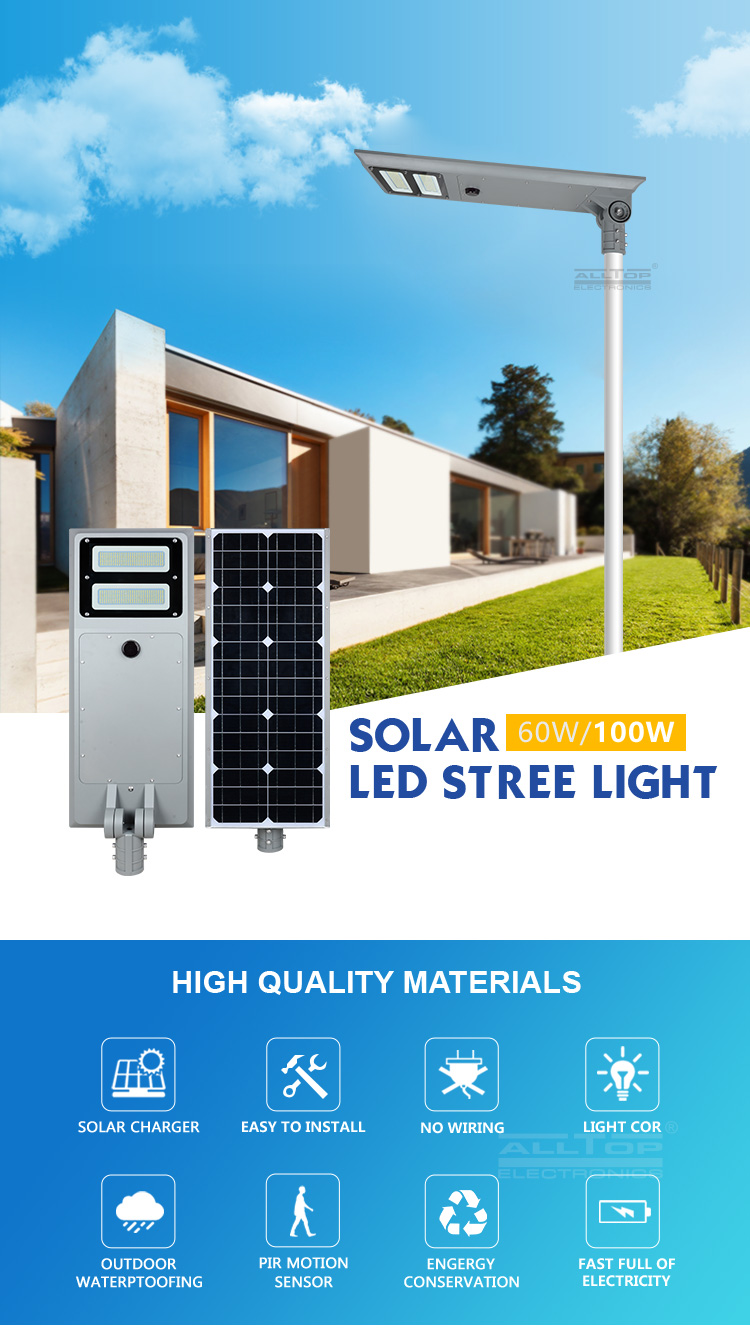 Alltop High Quality Outdoor Ip65 Waterproof Solar Panel Integrated All In One 40w 60w 100w Led Solar Street Light Buy Réverbère Mené Solaire Prix Mené Solaire De Réverbère Réverbère Mené Solaire Intégré Product