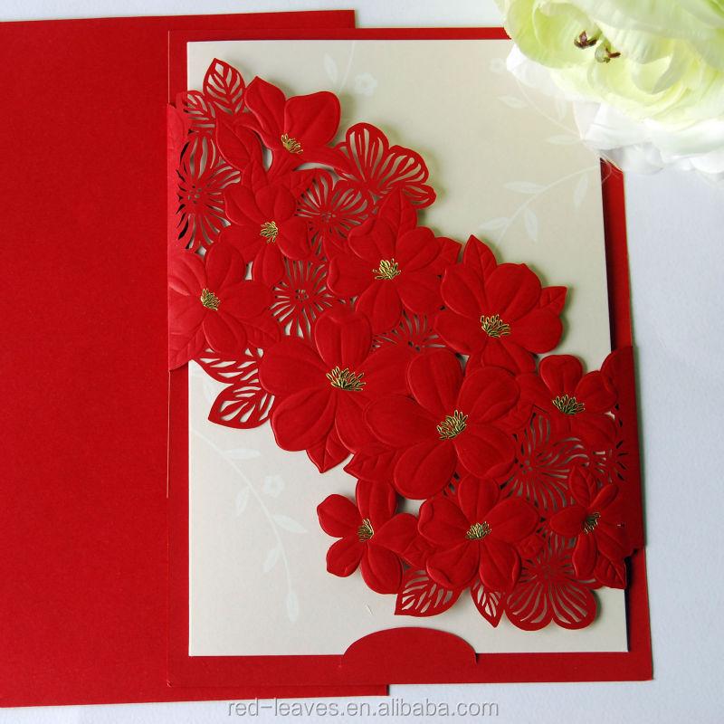 Laser Cut Elegant Flower Wedding Card Design Folding Wedding - wedding card designing