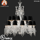 Baccarat Clear Crystal Chandelier with Black Lampshade